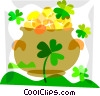 Vector Clip Art image  of a Pot of gold with clovers