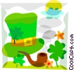 Vector Clipart graphic  of a Pipe and St. Patrick's Day hat