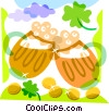 St. Patrick's Day toasting glasses of beer Vector Clipart illustration