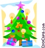 Christmas tree with presents Vector Clip Art picture