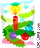 Christmas candles with decorations Vector Clipart picture