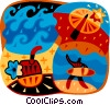 Surfer with waves and beach umbrella Vector Clip Art picture