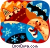 Vector Clip Art graphic  of a Snowboarder with mountains and