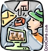 Vector Clip Art graphic  of a Man with computer and letter