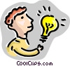 Vector Clip Art graphic  of a Man with idea light bulb