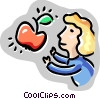 Vector Clip Art picture  of a Female student with apple