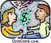 Couple with dollar sign and contract Vector Clipart graphic