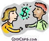 Vector Clip Art picture  of a Couple with dollar sign