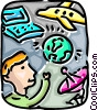 Man with globe, satellite dish, car and computer Vector Clipart illustration
