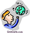 Man with globe Vector Clip Art image