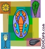 Lobster with wine, clams and lemon Vector Clipart picture