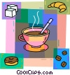 Coffee with a croissant and donut and sugar cubes Vector Clipart illustration