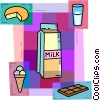 Milk with cheese, ice cream, and chocolate Vector Clip Art image