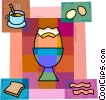 Eggs with bacon, coffee and toast Vector Clip Art picture
