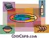 Fish with shrimp, sardines, and wine Vector Clipart image