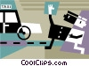 Vector Clipart illustration  of a Man hailing a taxi cab