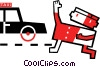 Man hailing a taxi cab Vector Clip Art graphic