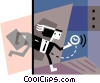 Vector Clipart graphic  of a Businessman running late