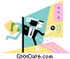 Businessman running late Vector Clipart illustration