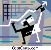 Vector Clip Art graphic  of a Businessman charting success