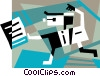 Businessman running with documents Vector Clipart picture