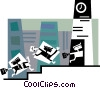 Vector Clipart image  of a Businessmen running late for