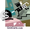 Vector Clipart graphic  of a man putting money into piggy