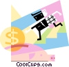 man putting money into piggy bank Vector Clipart illustration