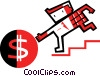 Vector Clip Art graphic  of a Businessman chasing money