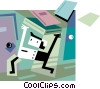 Student running with books Vector Clip Art image