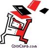 Vector Clipart image  of a Student running with books