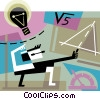 Vector Clip Art graphic  of a Man coming up with an idea