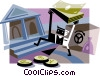 Vector Clip Art graphic  of a Businessman bringing money to