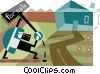 Real estate agent putting house up for sale Vector Clipart image