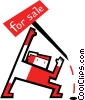 Vector Clip Art picture  of a putting house up for sale