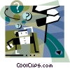 Businessman with options and decisions Vector Clip Art image