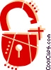 Open padlock Vector Clipart graphic