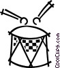 Vector Clip Art picture  of a Drum and drum sticks