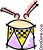 Drum and drum sticks Vector Clip Art image