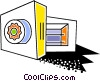 Vector Clip Art graphic  of a Opened vault