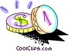 Vector Clip Art image  of a Colorful coins