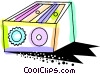 Vector Clip Art graphic  of a Colorful pencil sharpener