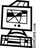 Vector Clipart image  of a Computer workstation