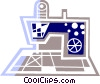 Vector Clip Art graphic  of a Electric sewing machine