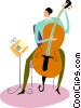 Cellist practicing with sheet music Vector Clip Art picture