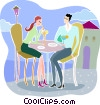 Couple having drinks on the patio Vector Clipart illustration