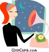 Woman listening to her gramophone Vector Clip Art graphic