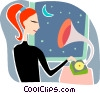 Woman listening to her gramophone Vector Clipart illustration