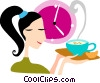 Woman having gourmet coffee Vector Clipart illustration