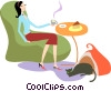 Woman having coffee with her cat at her feet Vector Clipart picture